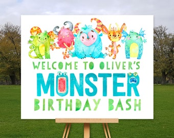Welcome Monster Birthday Sign | Little Monster Party Sign | Monster Party decor | 1st, 2nd, 3rd, 4th, 5th Birthday | Printable Sign | 1579