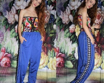 Vintage 90s Kappa Blue Minimalist Hip Hop Athletic  Tear Away Track Pants - 1990s Kappa Workout Pants - 1990s Sweat Pants - WV0436