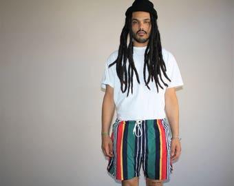 1990s Vintage Nautica Retro Striped Swim Trunk Shorts - Vintage Shorts - 90s Clothing - MV0431