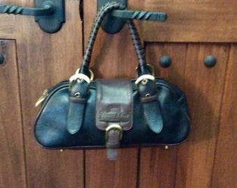 Vintage Parisian Tiffany And Fred Black And Brown Leather Satchel Handbag - Made In France