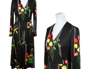 70s NOIR FLORAL WRAP Dress—Flowers and Stripes—Poly Jersey—