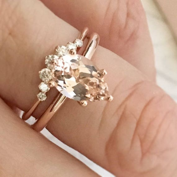 Pear Morganite Solitaire Rose Gold Ring Six Prong