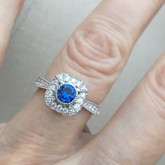 Blue Sapphire Diamond Halo Ring Vintage Inspired