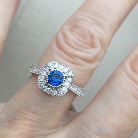 Blue Sapphire Diamond Halo Ring Vintage Inspired