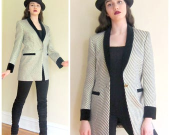 Vintage 1980s Designer Blazer by Escada in Textured Silk Brocade / Designer Vintage Jacket in Metallic Stripe Black Velvet / Medium
