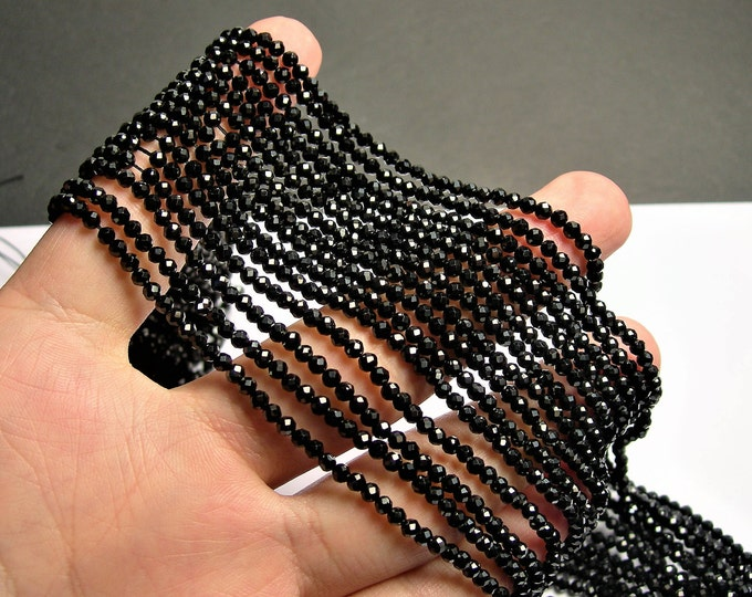 Black Spinel - 3mm faceted round beads -1 full strand - 136 beads - AA Quality - PG66