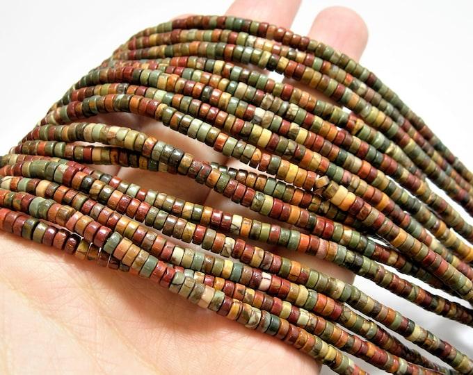 Red creek jasper - 4mm heishi - 188 beads - full strand - A quality - Picasso jasper - 4mmx2mm heishi rondelle-  RFG 1461