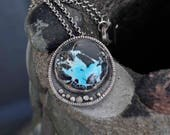 Turquoise Necklace, Blue Moon, Pendant, Metalsmith Jewelry