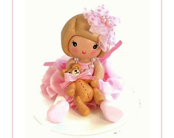 Girl 1st Birthday , Clay Cake Topper, Girl First Birthday, Pink Little Girl Birthday, Birthday Cake Decoration, Collectible Gift, Teddy Bear