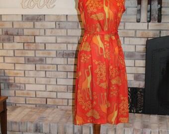 Vintage 1970's Dress, Animal Print Dress, Sheath Dress, Crane, Stork, Bird Dress