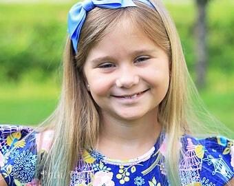 Big Bow Headband/Cinderella Headband/Blue Headband/Girls Headbands/Hard Headbands/Toddler Headbands/Ravenclaw Blue Hair Bow Headband