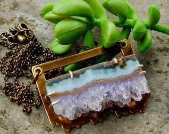 Amethyst Slice necklace #2 | amethyst geode necklace | artisan metalwork | amethyst crystal | Raw amethyst pendant | natural amethyst neck