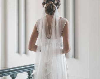 Draped veil - Wedding veil - Boho veil - Soft English tulle veil - Bridal veil