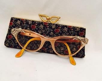 Tura Cat Eye Glasses 1950s Aluminum Bronze Tone with Gold & Silver Leaf Design And Spectapurse Case