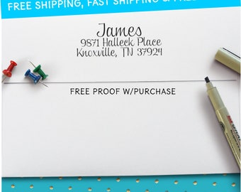 Address Stamp with a Script font.  Pick a Self-inking Return Address Stamp or Mounted with Handle Return Address Stamp 2 1/2 x 1 (20489)