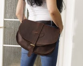 Leather Saddle Bag, Leather Messenger Leather Messenger Bag, Leather Purse, Leather Cross-body Bag, IPhone case,Goldmann S, antic brown