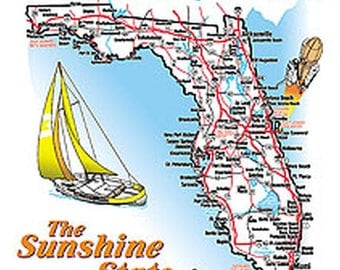 Adult Unisex Short Sleeve T Shirt Florida Jumbo Map The Sunshine State 1340