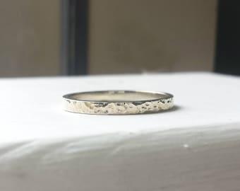 Thin Hammered White Gold Wedding Band - 2mm - Minimalist, Basic, Simple, Skinny, Gold Stacking Ring