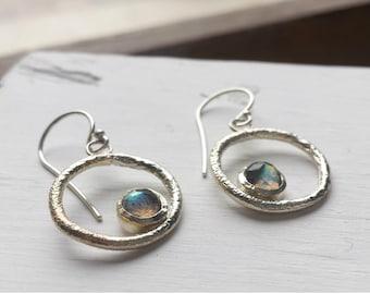 Labradorite Circle Earrings - Recycled Silver - Organic Rustic Texture - Dangle Earrings, Rose Cut, Labradorite Drop Earrings, Rainbow