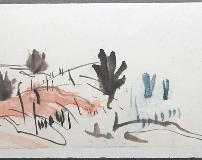 "Watercolor landscape painting: Juniper, Red Hill, Grass and Brush. Watercolor landscape on paper. 4"" x 10"" (10 x 25.5 cm)"