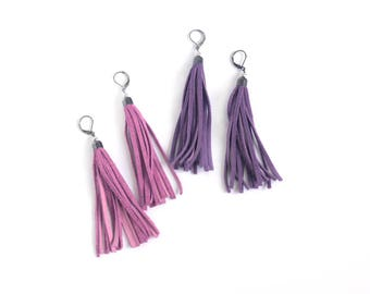 Leather tassel earrings in pink rose and bright violet