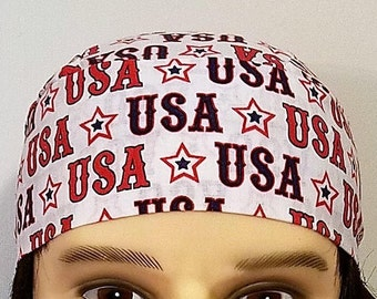 USA Skull Cap, Chemo Cap, Surgical Cap, Handmade, Alopecia, Hair Loss, July 4th, Hats, Head Wrap, Do Rag, Helmet Liner, Motorcycle, Bandanna