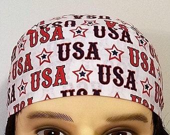 USA Skull Cap, Chemo Cap, Surgical Cap, Handmade, Alopecia, Hair Loss, July 4th, Hats, Head Wrap, Do Rag, Helmet Liner, Motorcycle, Bandanna