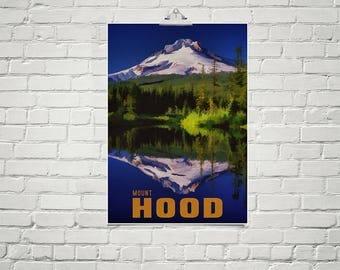 Mountain Art Print 18x24 Poster Mount Hood Wall Art Oregon Poster Snowy Mountains Art Landscape Print