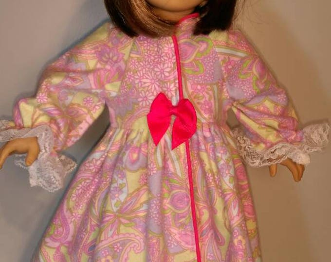 Paisley floral flannel winter doll robe fits 18 inch dolls