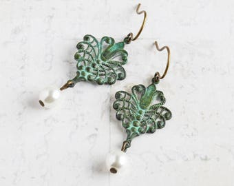 Filigree Drop Earrings, Green Patina Earrings with White Pearl Dangle, Brass Earrings, Everyday Jewelry, Gift for Her