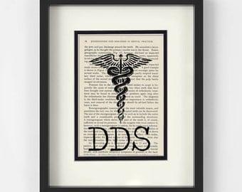 Dentist - DDS over Vintage Dental Book Page - Dentist Gift, DDS Gift, Dentist Graduation Gift, Dentist Art Print, Dental Art, Dentist Office