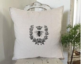 French Bee Pillow | Farmhouse Decor | Cottage Decor | French Bee Happy | Throw Pillow | Farmhouse Decor