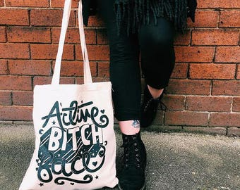 Tote Bag - Active Bitch Face | screen printed canvas bag