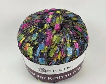 Berlini Ladder Ribbon Maxi Yarn 50g 98 Yards 100% Nylon Color 96 Paint Box