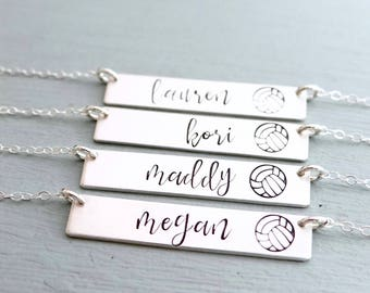 Personalized Volleyball Bar Necklace. Calligraphy Font Hand Stamped Custom Name Bar Necklace. Sports Team Jewelry, Sterling Silver Bar.