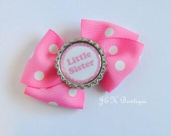 Big sister hair bow, little Sister hair bow, pink hair bow, pink sister bow, big sister bow, big sister, sister hair bow