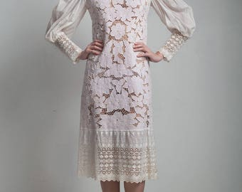 vintage 50s dress modified antique edwardian leg o' mutton sleeves long lace cuffs floral eyelet lace embroidery S M small medium