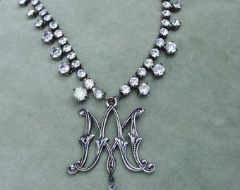 Marie's Confection--Vintage Rhinestone Necklace Marie Antionette Ava Maria Monogram Bird Charm NECKLACE