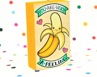 you are very a-peeling / original painting on cradled wood panel / banana pun kawaii art