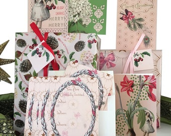 Christmas fairy gift wrap kit with bows, tags, and peppermint scented greeting cards! Complete kit! Pink, Green, Red.