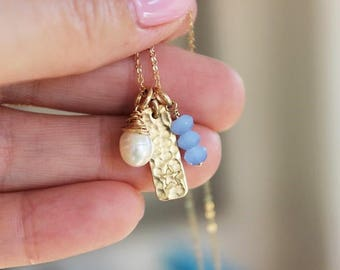 blue stone pearl cluster necklace, tiny star pendant, pearl charm necklace, delicate gold necklace, birthday gift for her, malisay designs