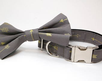 Handmade Dog Collar and Bow Tie Set - Arrows Abound in Gray - Custom Made Arrow Dog Collar with matching bowtie