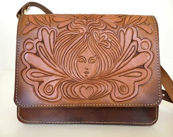 Hand Carved/Tooled Leather Cross Body Bag Summer Of Love