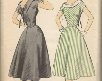 1950s Full Skirt Dress V Back Fit & Flare Cap Sleeves Easy to Sew Advance 7091 Size 18 Bust 36 Women's Vintage Sewing Pattern