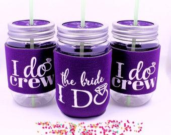 Bachelorette Party Cups, Bachelorette Party Favors, I Do Crew Cups, Deep Purple