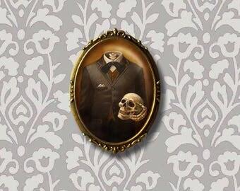 Skeleton Brooch - Skull Pin - Skeleton Pin - Skull Brooch - Victorian - Gothic -  Headless Skeleton - Halloween Brooch - Oval - Steampunk