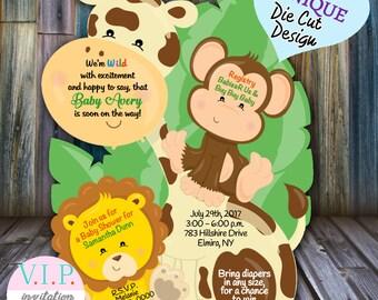 Safari Baby Shower Invitation, Safari Invitation, Jungle Invitation Giraffe Safari Baby Invitations, Baby Boy Shower Safari invitation
