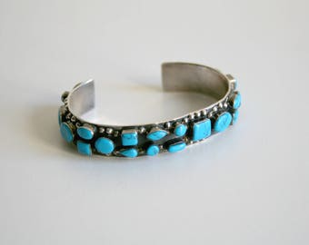 Mexican Turquoise Sterling Cuff Bracelet