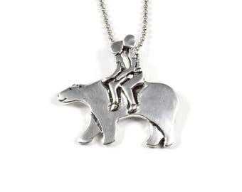 Sterling Bear Jewelry Gift For Mom, Mama Bear Pendant, Sterling Bear Necklace, Robin Wade Jewelry, Mama Bear Bella Journeys, Pendant, 2470