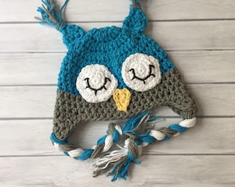 Owl hats for baby  crochet owl hat newborn photo prop blue newborn owl hat toddler owl hat